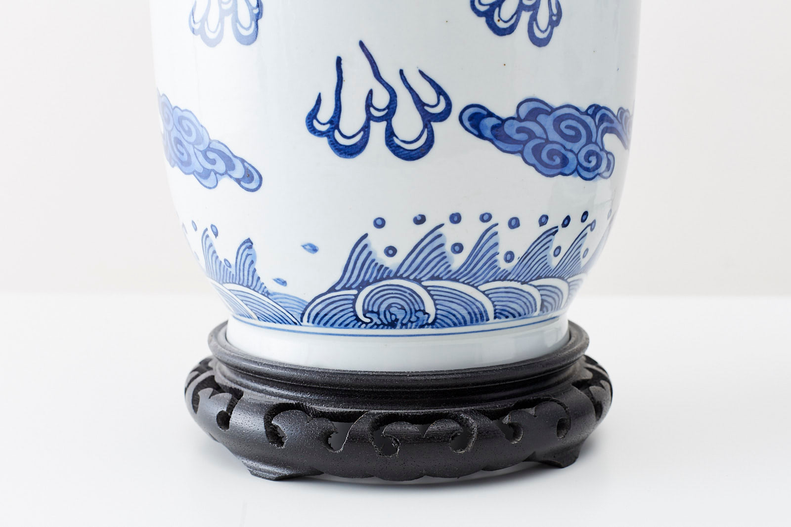 Pair of Chinese Blue and White Porcelain Vase Dragon Lamps