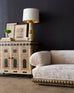 Hollywood Regency Velvet Sofa with Carved Giltwood Base