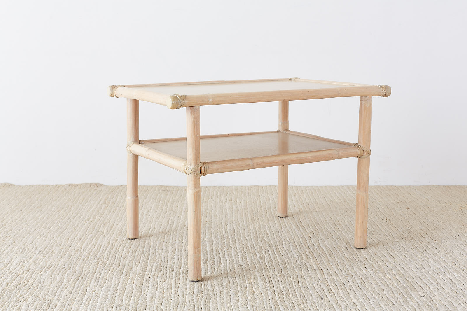 McGuire Bamboo Rattan Two-Tier Cerused Side Table