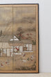 Japanese Edo Four-Panel Screen of Village Life