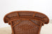 French Style Palecek Wicker Chaise Longue with Waverly Ticking Stripe Upholstery
