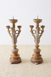 Pair of Italian Carved Three-Light Candelabras