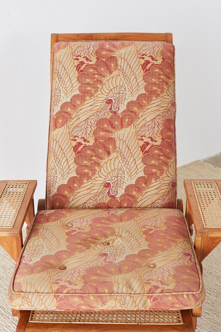 British Colonial Caned Teak Plantation Lounger with Ottoman