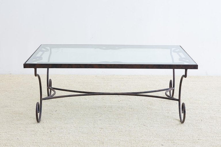 Spanish Style Wrought Iron And Glass Coffee Table Erin Lane Estate
