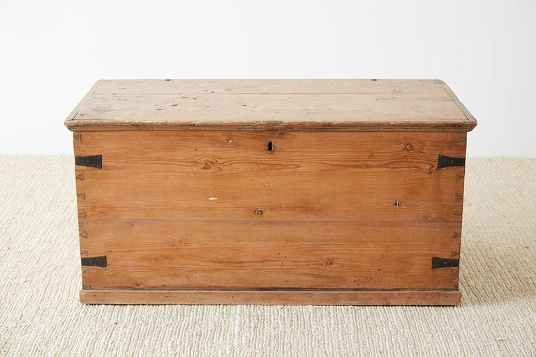 Rustic 19th Century English Pine Blanket Chest