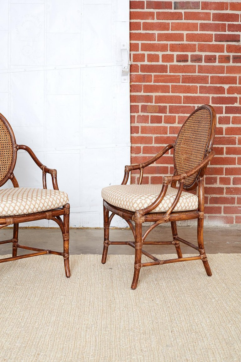 Set of Four Organic Modern Rattan Armchairs by McGuire