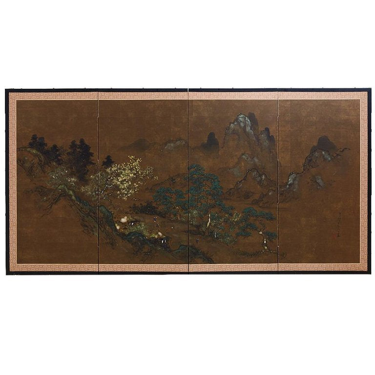 Japanese Four Panel Byobu Screen