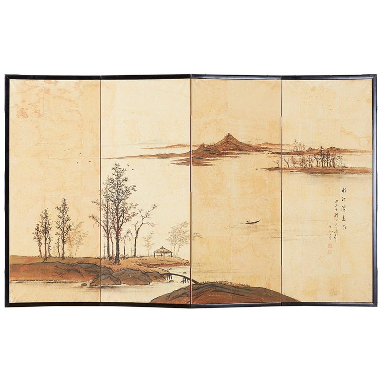 Japanese Four-Panel Screen River Landscape Screen