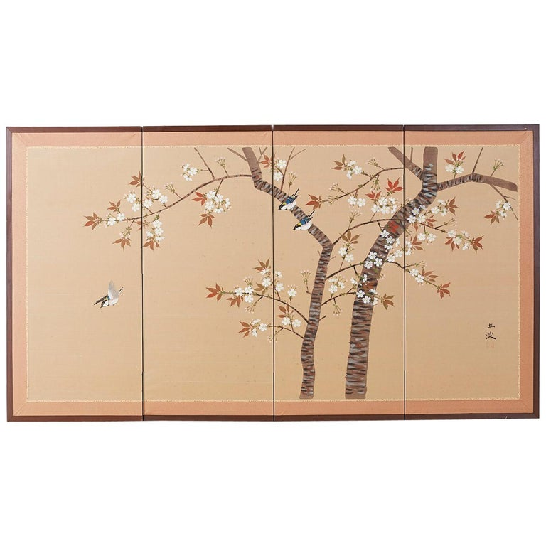 Japanese Four-Panel Screen Spring Cherry Blossom Tree