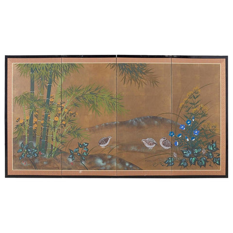 Japanese Four Panel Screen Quail in Flower Bamboo Landscape