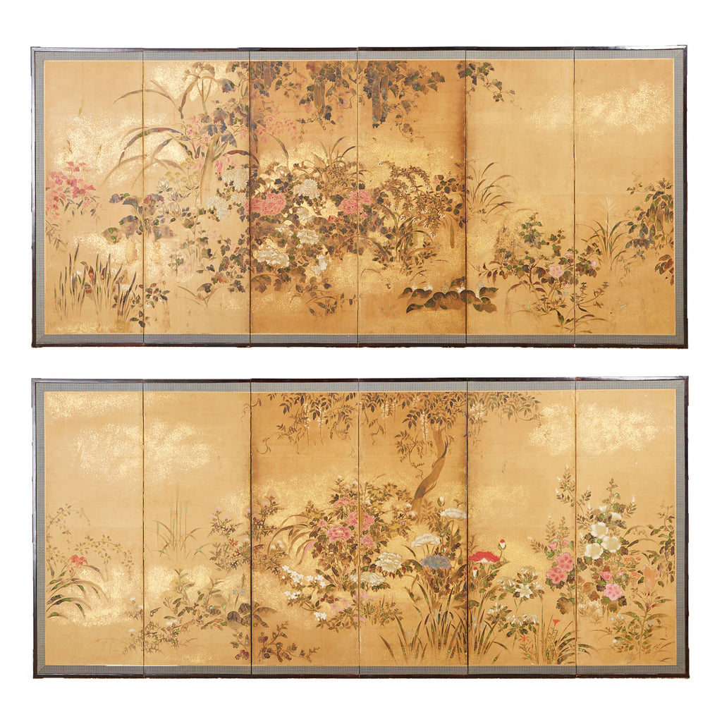 Pair of Japanese Edo Rinpa School Screens after Sostesu