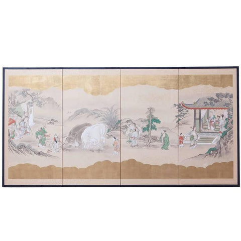 19th Century Japanese Four Panel Kano School Painting Edo Screen