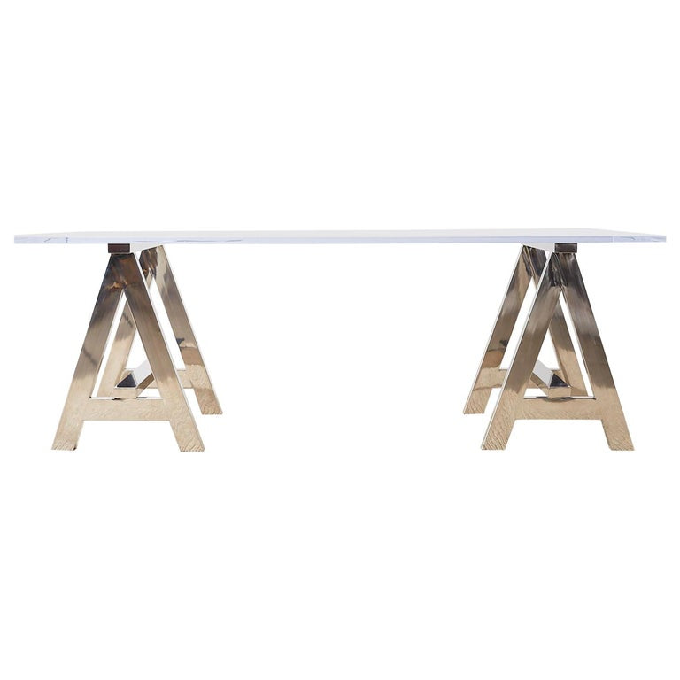 Modern Lucite Desk Dining Table with Chrome Sawhorse Bases