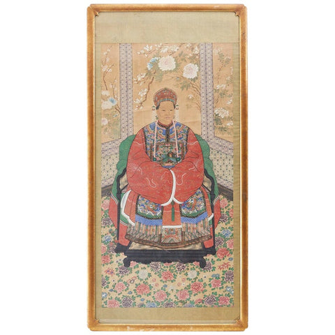 Monumental Chinese Ancestral Matriarch Framed Scroll Painting
