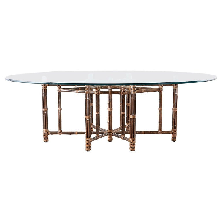 Monumental McGuire California Modern Rattan Oval Dining Table
