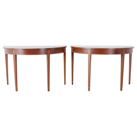 Pair of American Hepplewhite Style Demilune Console Tables