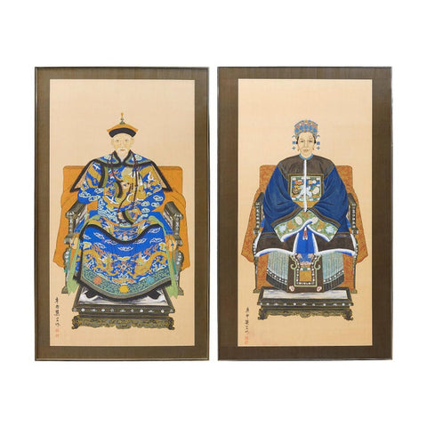 Pair of Chinese Patriarch Matriarch Silk Ancestral Prints