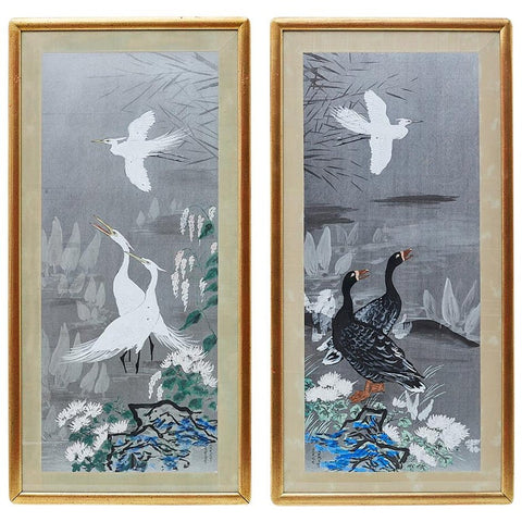 Pair of Japanese Style Painting of Herons and Ducks