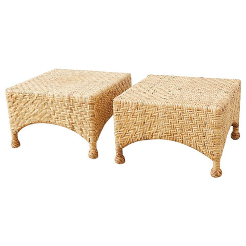 Pair of McGuire California Modern Rattan Drinks Tables