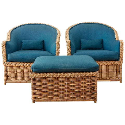 Pair of McGuire Rattan Wicker Lounge Chairs and Ottoman