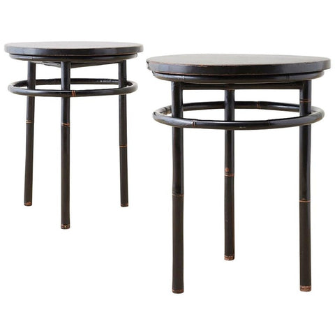 Pair of Midcentury Ebonized Bamboo Round Drinks Table