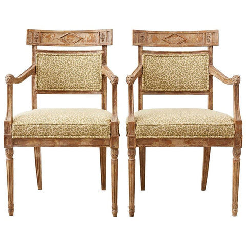 Pair of Neoclassical Directoire Style Fauteuil Armchairs