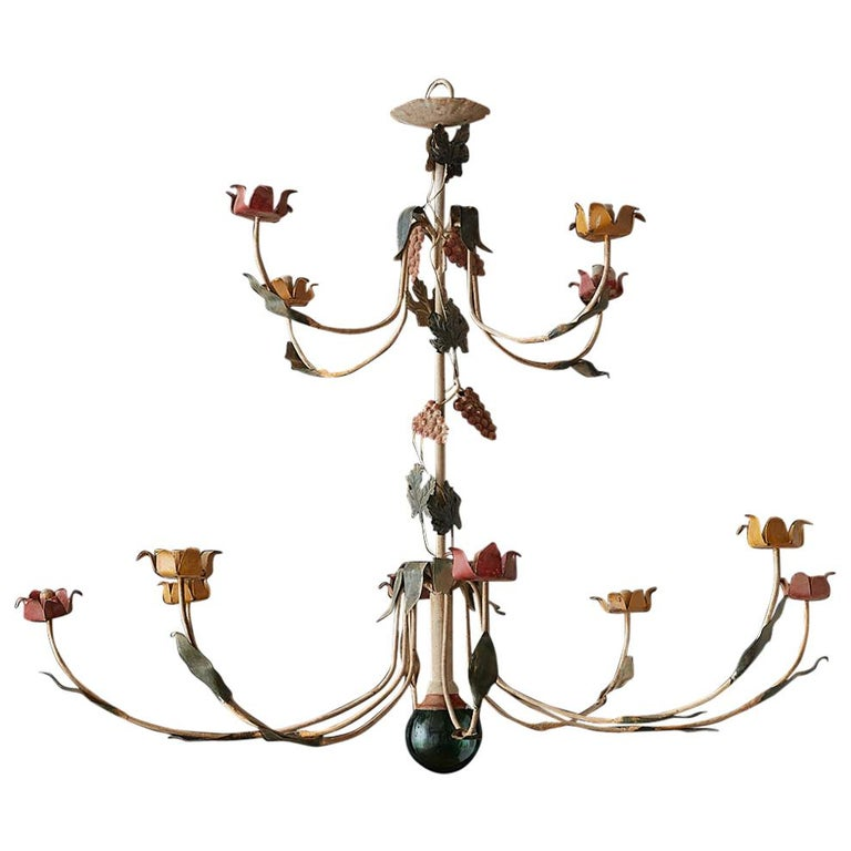 Rustic French Iron Twelve-Light Candle Chandelier