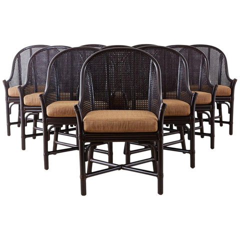Set of 10 McGuire Rattan Cane Belden Dining Chairs