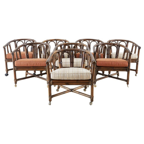 Set of Eight McGuire Bamboo Rattan Lounge Chairs