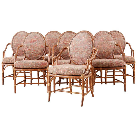 Set of Eight McGuire Rattan Chinoiserie Dining Armchairs