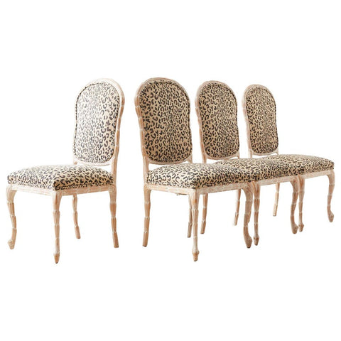 Set of Four Cerused Faux Bois Dining Chairs