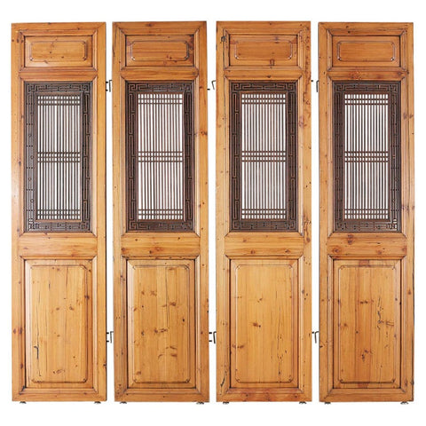 Set of Four Chinese Carved Elm Lattice Door Panels