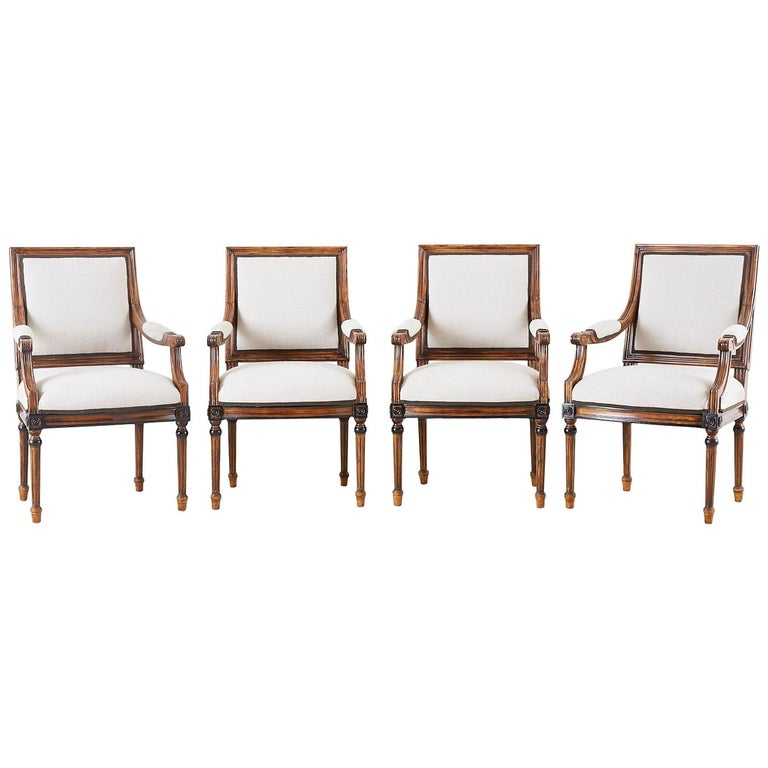 Set of Four Louis XVI Style Dining Armchairs