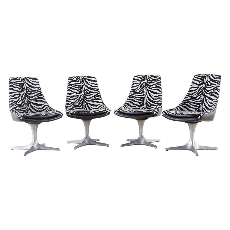 Set of Four Mid-Century Chromcraft Zebra Swivel Dining Chairs