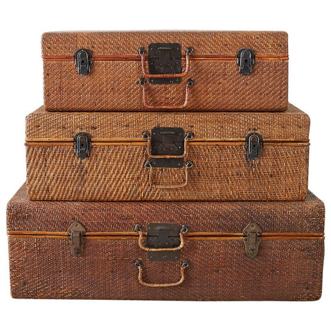 Set of Three Rattan Raffia Clad Wooden Suitcases