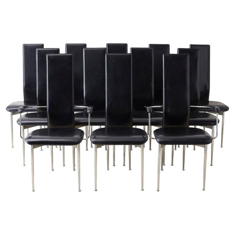 Set of Twelve G. Vegni Modern Italian Leather Dining Chairs