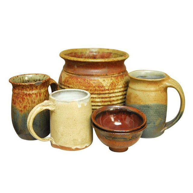 Assembled Set of Six Studio Pottery Collection