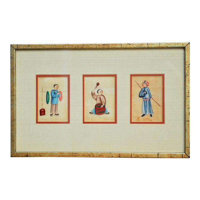 Asian Triptych Mounted Figural Drawing