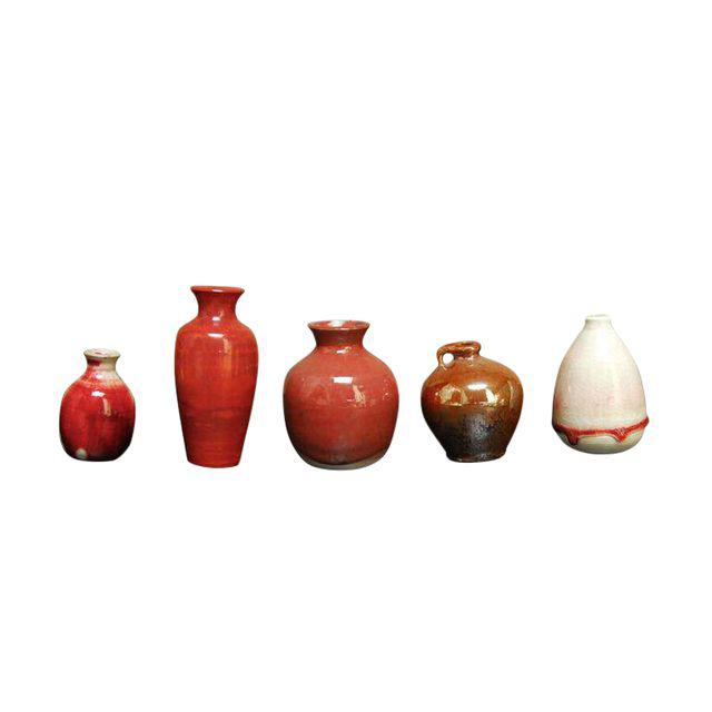 Assembled Red Glazed Diminutive Pottery - Set of 5