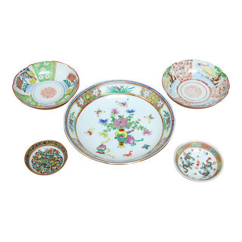 Assembled Set of Five Chinese Porcelain Plates and Bowls