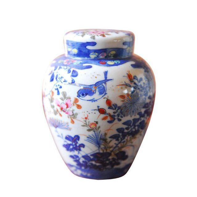 Blue and White Lidded Ginger Jar