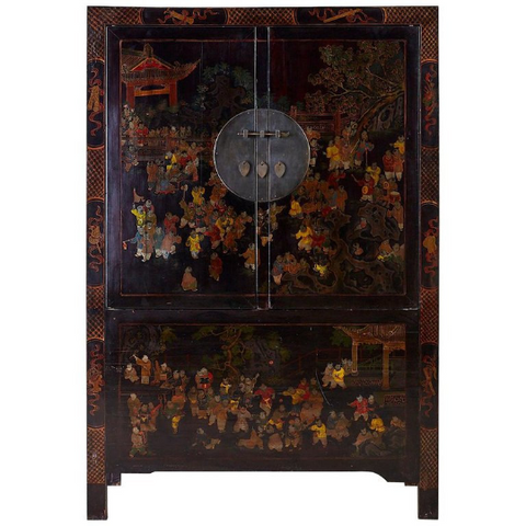 Chinese Qing Style Lacquered Wedding Cabinet Chest