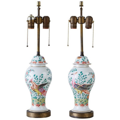Pair of Chinese Export Painted Porcelain Ginger Jar Lamps