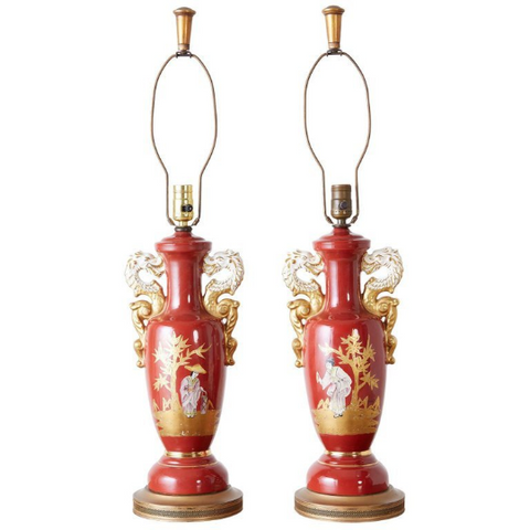 Pair of Parcel Gilt Porcelain Chinoiserie Vase Table Lamps