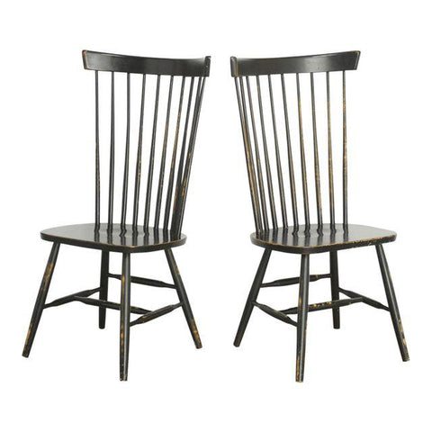 Pair of Ebony Spindle Back Windsor Chairs