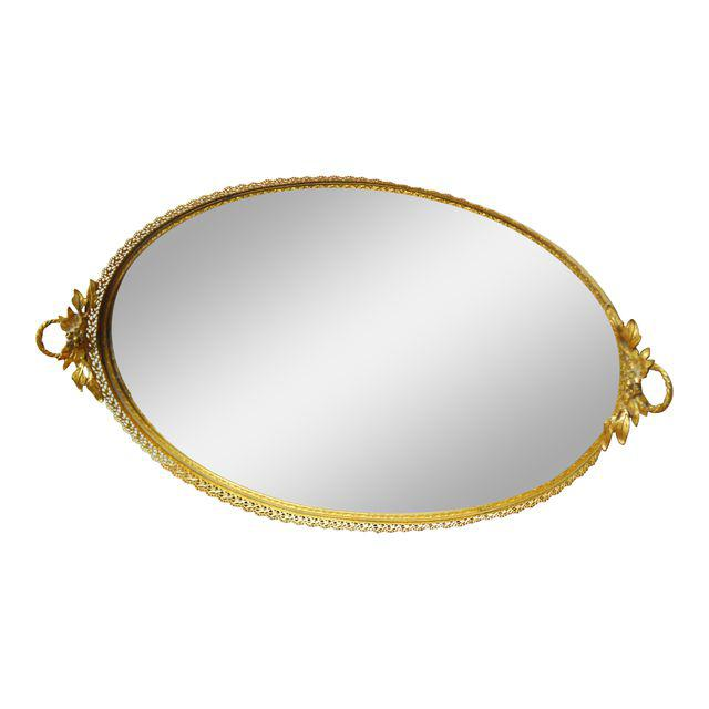 Gold Filigree Oval Mirror Tray
