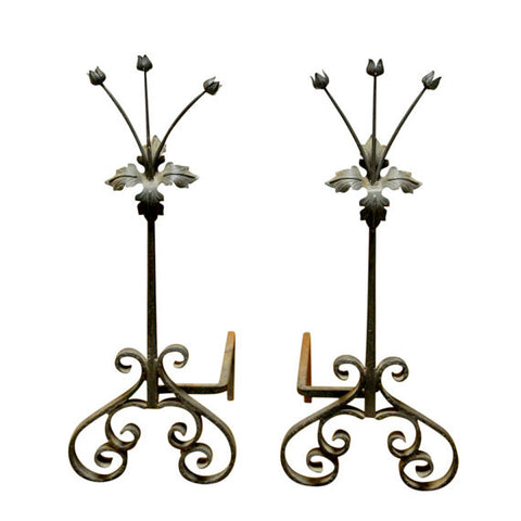 Pair of French Floral Art Nouveau Andirons