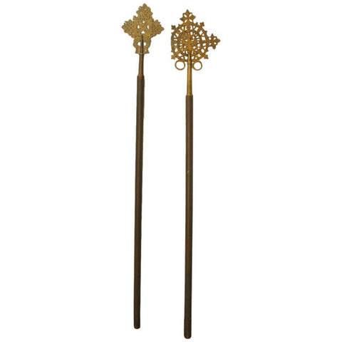 Pair of Ethiopian Coptic Crosses Mounted on Wooden Staffs