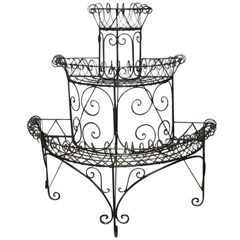 Black French Wire Demi lune Plant Stand