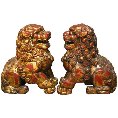 Pair of Large Chinese Gilt Temple Foo Dogs